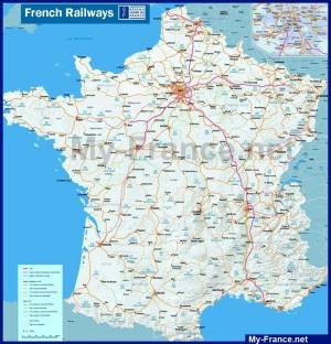 Карта железных дорог Франции