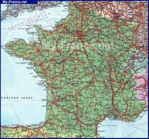 Подробная карта Франции на русском языке