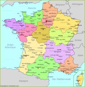 Политическая карта Франции