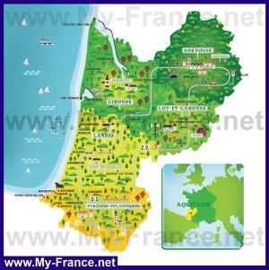 Туристическая карта Аквитании