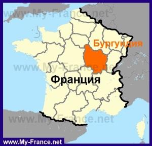 Бургундия на карте Франции
