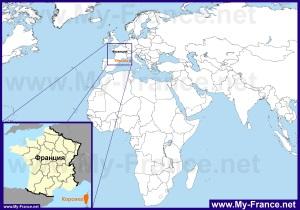 Остров Корсика на карте мира