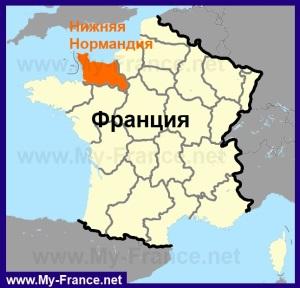 Нижняя Нормандия на карте Франции