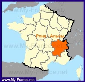 Рона-Альпы на карте Франции
