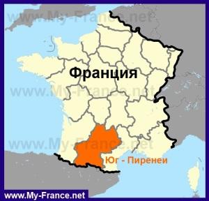 Юг-Пиренеи на карте Франции