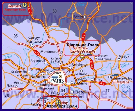 Аэропорты на карте Парижа
