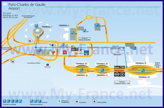 Схема аэропорта Руасси – Шарль-де-Голль