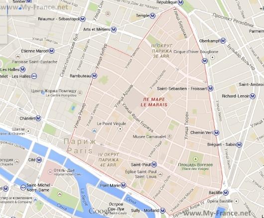 Квартал Маре на карте Парижа