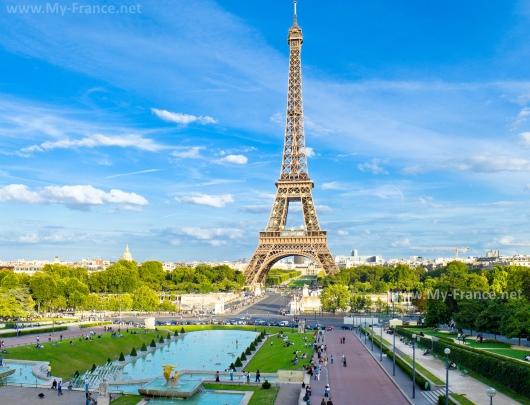 Вид из Дворца Шайо на Эйфелеву башню