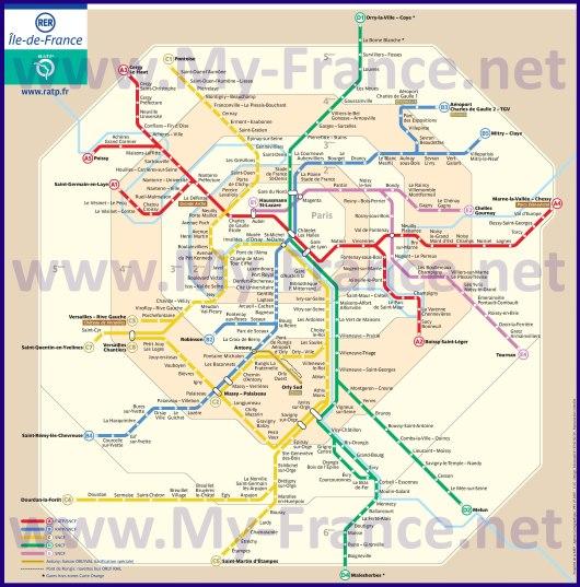 Схема RER Парижа
