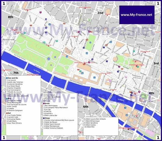 Карта 1 округа Парижа
