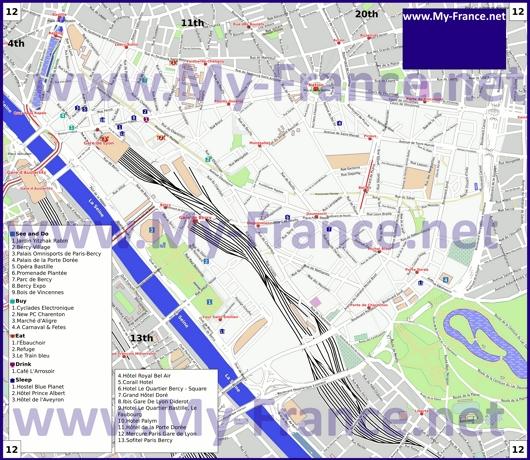 Карта 12 округа Парижа