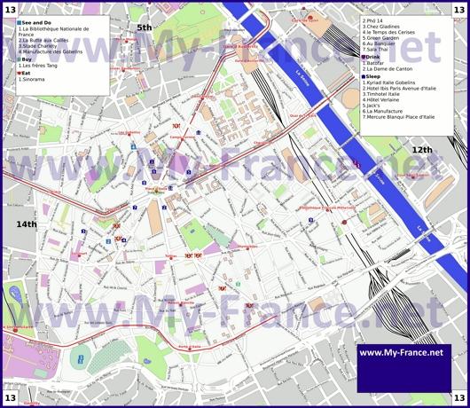 Карта 13 округа Парижа