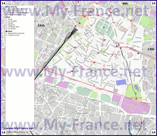 Карта 14 округа Парижа