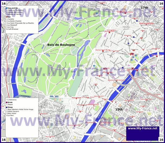 Карта 16 округа Парижа