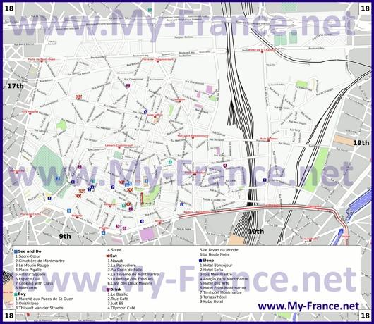 Карта 18 округа Парижа