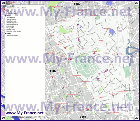 Карта 20 округа Парижа