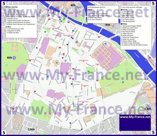 Карта 5 округа Парижа