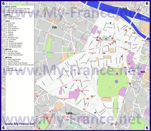 Карта 6 округа Парижа