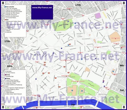 Карта 8 округа Парижа