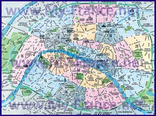 Округа Парижа на карте с достопримечательностями