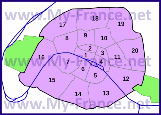 Схема расположения округов Парижа